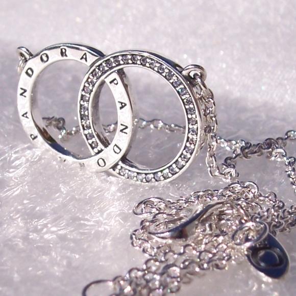 db1ef4d737be9 Pandora Circles Necklace LOGO Sterling CZ Pendant